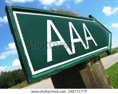 AAA credit rating sign - stock photo