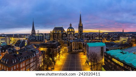 Aachen cathedral at sunset panorama in germany - stock photo