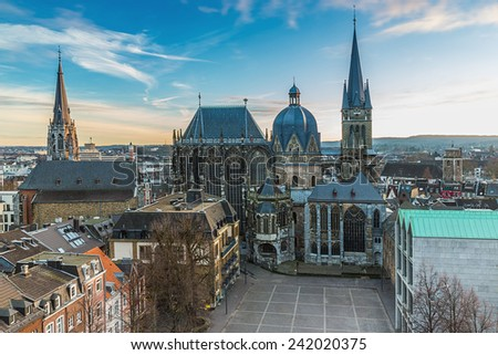Aachen Cathedral in winter with sun dawn in aix-la-chapelle germany - stock photo