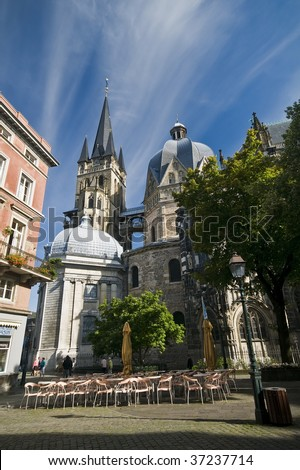Aachen Dome in the morning light - stock photo
