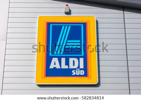 Aachen Germany February 2017 Aldi Sign Stock Photo Safe To Use