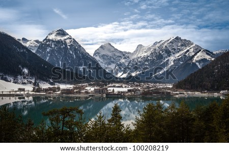 Aachensee and the Alps - stock photo