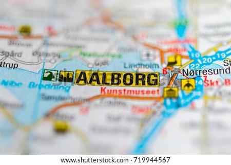 Aalborg On Map Stock Photo 719944567 Shutterstock