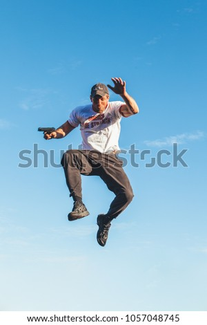 Aalst, Belgium - March 11, 2012: professional stuntman acting in a film