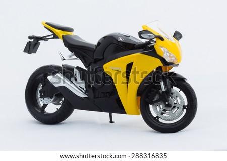 Aalter, Belgium - 15 june 2015: toy yellow Honda cbr 1000rr - stock photo