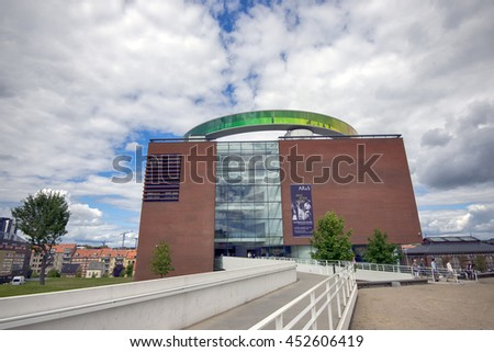 AARHUS, DENMARK â?? JULY 13, 2016: Art museum in Aarhus, Aros. Panoramic walkway created by Danish-Icelandic artist Olafur Eliasson, on the roof of the museum.  July 13, 2016 - stock photo