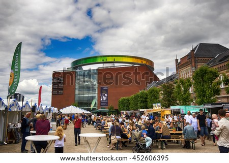 AARHUS, DENMARK - JULY 13, 2016: Food Market close to Art museum , Aros. Officerpladsen close to Ridehuset.  July 13, 2016 - stock photo