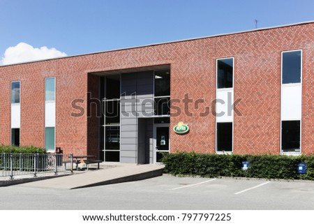 Aarhus, Denmark - June 11, 2016: Arla Foods offices building. Arla Foods is an international cooperative based in Aarhus, Denmark, and the largest producer of dairy products in Scandinavia