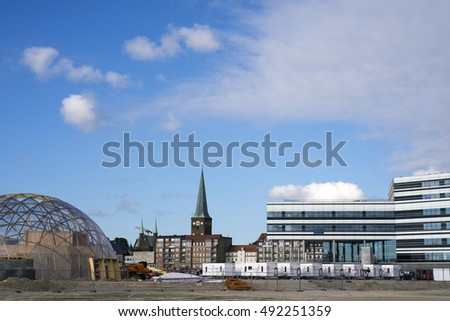 AARHUS, DENMARK - SEPTEMBER 18, 2016: Dome of Visions building site.  Modern architecture on Aarhus Dockland - Aarhus will be European capital of culture in 2017. September 18, 2016