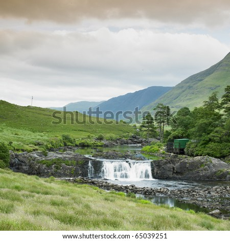 Aasleagh Falls, County Galway, Ireland - stock photo