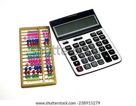 abacus and calculator - stock photo