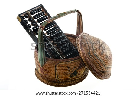 Abacus and old Chinese basket isolated on white background - stock photo
