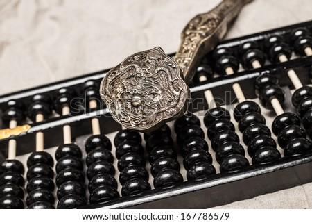 abacus and  ruyi  - stock photo