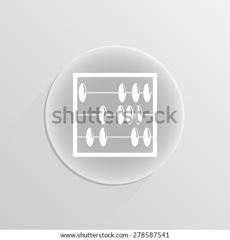 Abacus Icon on a white button with shadow  - stock photo