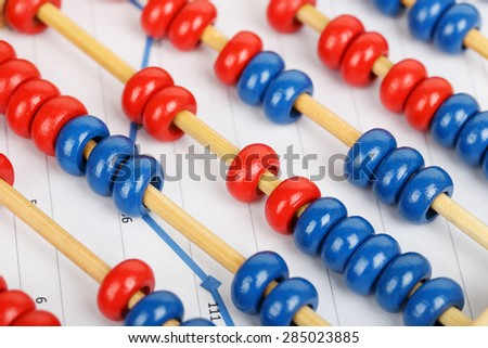 abacus on business graph closeup, growth concept - stock photo