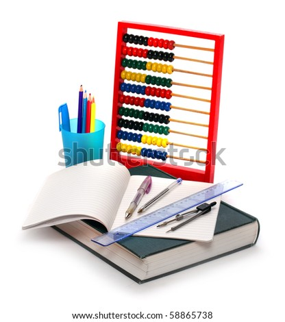 Abacus, pencils and exercise-book. Essential tools for schoolchildren. Studio shot on white background.