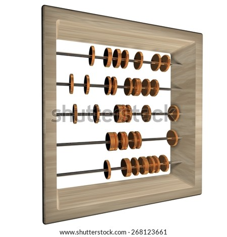 Abacus with coins, isolated over white, 3d render, square image
