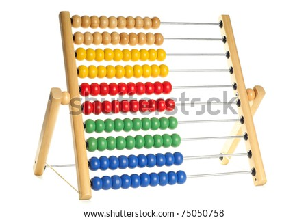 Abacus with many colorful beads isolated over pure white background