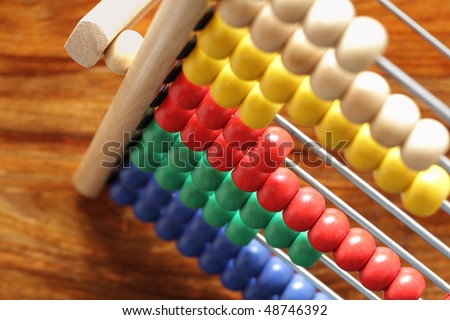 Abacus with multi colored beads - concept for education or mathematics