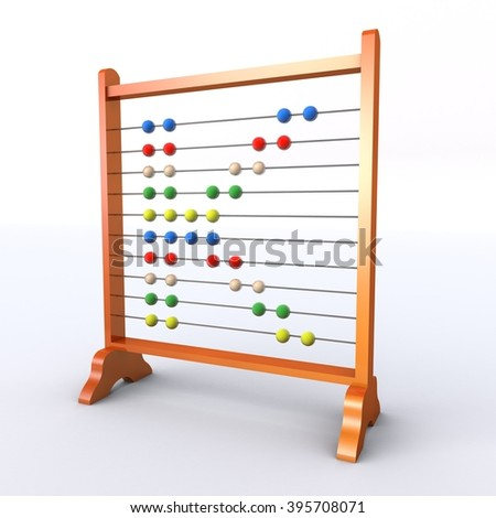 Abacus with multicoloured beads in the shape of the letter K