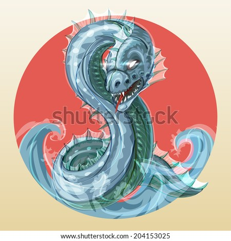 Abaia - fantastic fierce sea serpent or ocean dragon, symbol of water in japanese style  - stock photo
