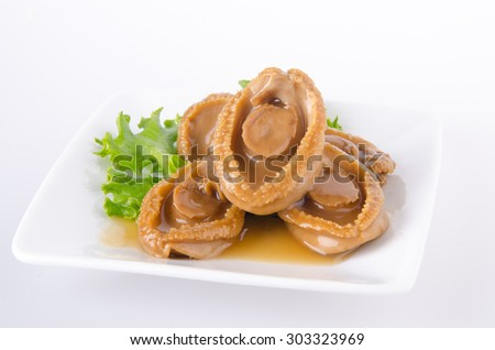 Abalones. Chinese cuisine abalone on the background.
