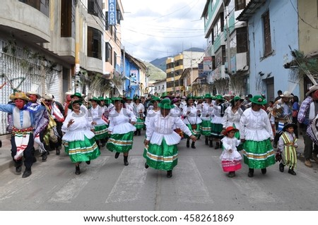 Abancay, Peru-January 6, 2011: Women celebrate Epiphany