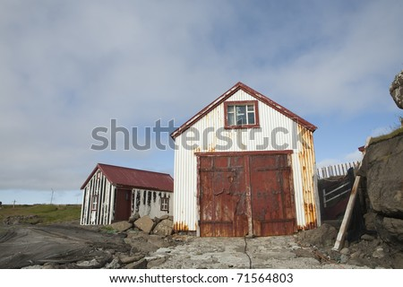 Abandon old rusty house in Iceland - stock photo