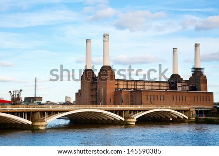 Abandonded Battersea power station in London - stock photo