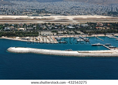 Abandoned airport of Elliniko and Agios Kosmas marina aerial view, Athens, Greece