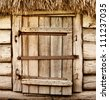 Abandoned barn vintage wooden door. Old photo of rustic house entrance - stock photo