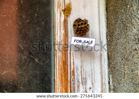 Abandoned beehive with hanging for sale sign as  a house for sale - stock photo