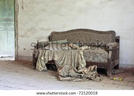 abandoned bench - stock photo