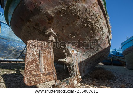 Abandoned boat at Portopalo, Sicily, Italy - stock photo