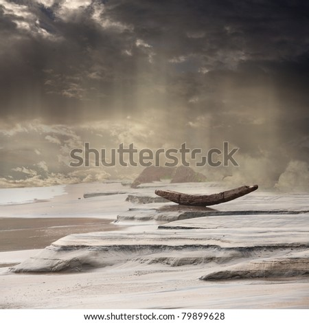 Abandoned Boat in the Monsoon Rain - stock photo