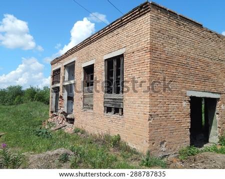 abandoned brick building enterprise. - stock photo