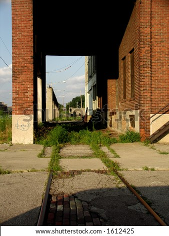 Abandoned building and railroad track in downtown Dayton - stock photo