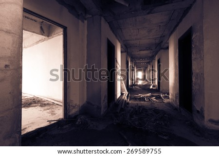 abandoned building discarded building, corridor