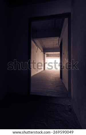 abandoned building discarded building, corridor - stock photo