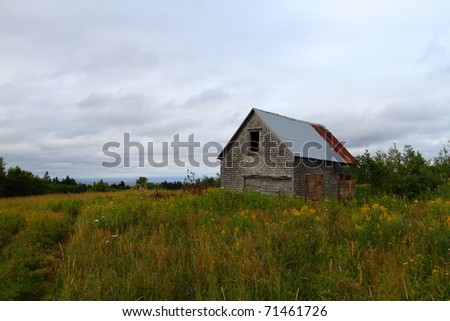 Abandoned building in a summer meadow - stock photo