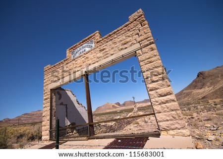 Abandoned building in desert, mining ghost town in Rhyolite Nevada - stock photo