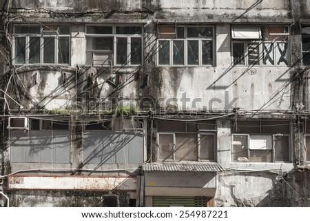 Abandoned building in Hong Kong  - stock photo