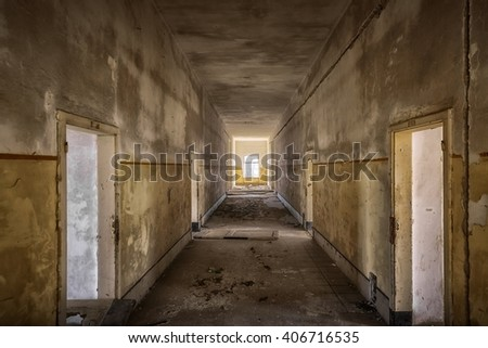 Abandoned building interior - stock photo