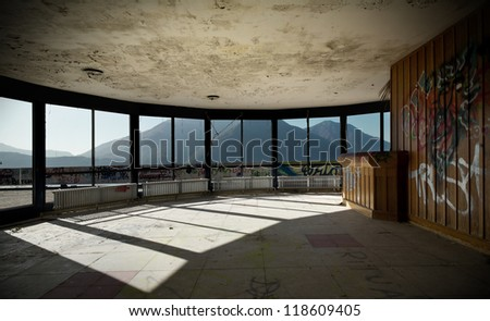 abandoned building, many windows - stock photo