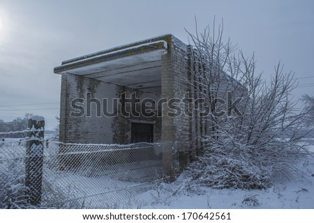 Abandoned building of weights - stock photo