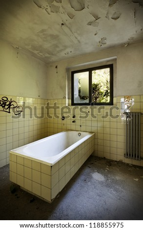 abandoned building, old bathroom - stock photo