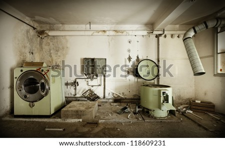 abandoned building,   old laundry - stock photo