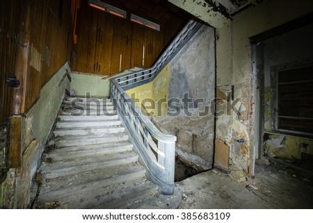 abandoned building ruins interior - stock photo