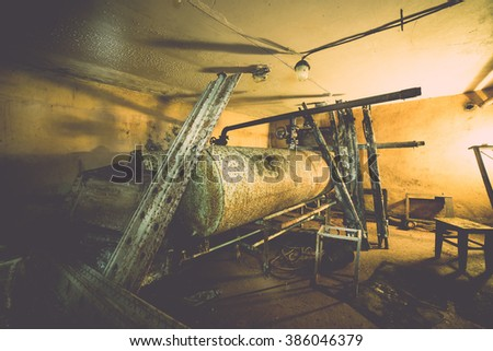 abandoned building ruins interior - vintage effect - stock photo