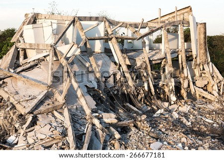 Abandoned buildings destroyed In order for new building - stock photo